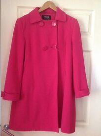 Pink knee length coat size 14