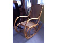 Rare Large Vintage Bentwood Rocking Chair Wicker Cane Wood / Can Deliver