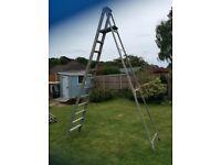 Tall aluminium step ladder