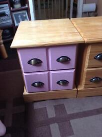 2x 2 drawer chests, solid pine