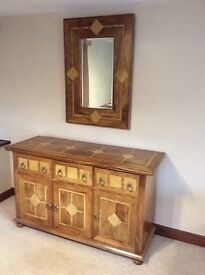 Malabar Range Sideboard & Matching Mirror in Hardwood with Marble Detail