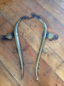 Old brass horse Hames 30 inches long