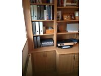 Office desk/cupboards/shelving: all-in-one assembly- immaculate condition!