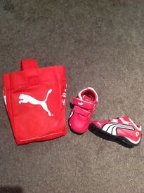 Red Puma baby Trainers (size 3).