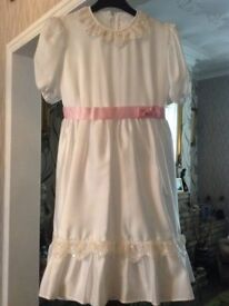 party dress white with pink satin bow