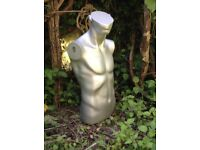 Mannequin Male man torso dummy grey pewter silver life size