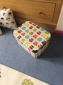 Two colourful owl Cushions, storage box & matching fabric