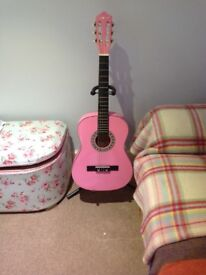 Kids guitar pink, bag and stand £45