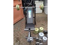 Selection of weights , equipment and weight bench