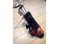 GO Junior Web golf club set with 5 series junior trolley