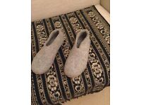 Glerups sz39 grey felt slippers with leather sole