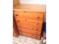 Antique pine solid wood chest of drawers