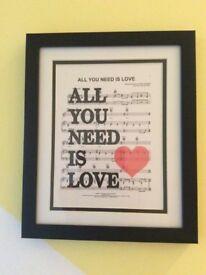 Favourite lyrics framed gift