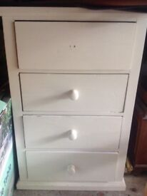 Handmade solid painted pine 4 drawer chest. Perfect for upcycling