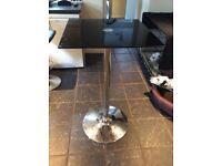 Black glass and chrome bar table