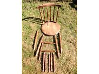 Carver chair, broken but can be repaired. Selection of spare spindles. Had woodworm but treated.