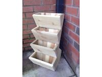 4 TIER FREE STAND POCKET PLANTER, WOODEN GARDEN PLANTER bulb herb bedding plants. New handmade.
