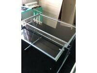 strong well made metal and glass computer table ,