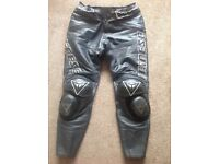 Black leather Dainese motorcycle pants for sale