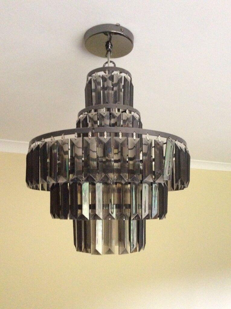 Chandelier Modern black acrylic with led bulbs