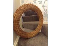 Brown rattan mirror for bathroom, hallway, in very good condition