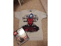 Lego minifigure Star Wars book and new t shirt aged 9-11