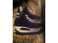 Ice hockey skates CCM Mustang older style size 4. Good condition. Recently sharpened. Blade guards.