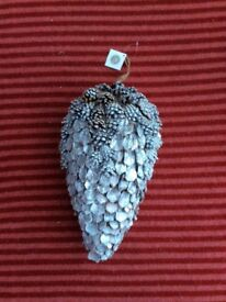 Hanging Medium Silver Glittery Pine Cone Decoration