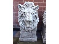 Pair of Stone Lions - Garden Ornaments
