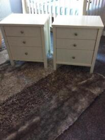 Bedside tables white pair