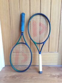 Pair of Donnay tennis rackets with covers, great condition, as hardly used