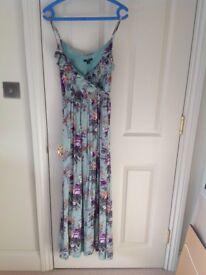 Oliver Bonas Mint Green Floral Long Maxi Dress, UK Size 10