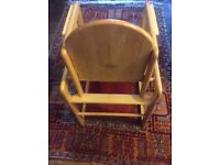 John Lewis Wooden high chair that converts into a table and chair, excellent condition.