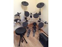 Session Pro DD402D electronic drum kit with Rockburn amplifier, stool, headphones, drumsticks