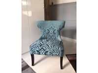 EMBOSSED VELVET EFFECT WINGED CHAIR WITH CHROME STUDS