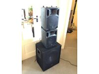 2 speakers and 1 subwoofer. Great Condition