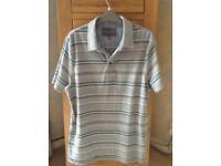 Men's Grey Stripe Short Sleeve Polo Style T-Shirt Size Medium NEW