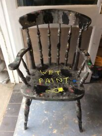 Quirky upcycle items / 2 retro chairs / 1 x Pine carver