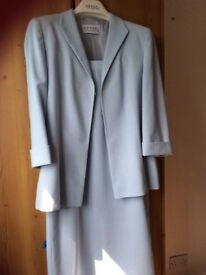 Lovely Light Blue Hensel designer suit for a summer wedding, midi length skirt and smart jacket