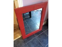Red leather look mirror