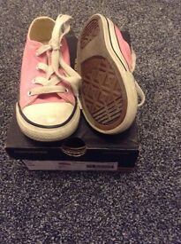 Girls pink converse size 8