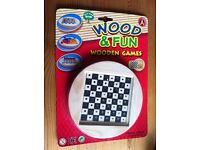 Wooden Draughts/Checkers Game, Brand New in Packet, Round