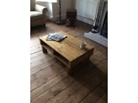 Handmade Reclaimed Rustic Pallet Wood Coffee Table with shelf