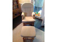 Cream John Lewis glider nursing chair and footstool