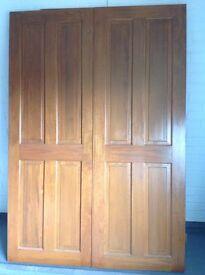 Doors. Pair of Antique Stained Pine Doors