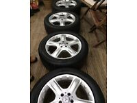 Mercedes alloy wheels and tyres.. 19 inch 255/50/19.. immaculate condition