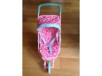 ELC doll's pushchair, highchair, baby carrier, rocker, bag and pink bath and potty