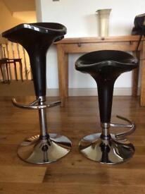 Kitchen bar stools, black and chrome.