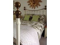 Double Size Cream and Antique Brass Metal Bedstead
