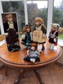 5 large costume dolls
